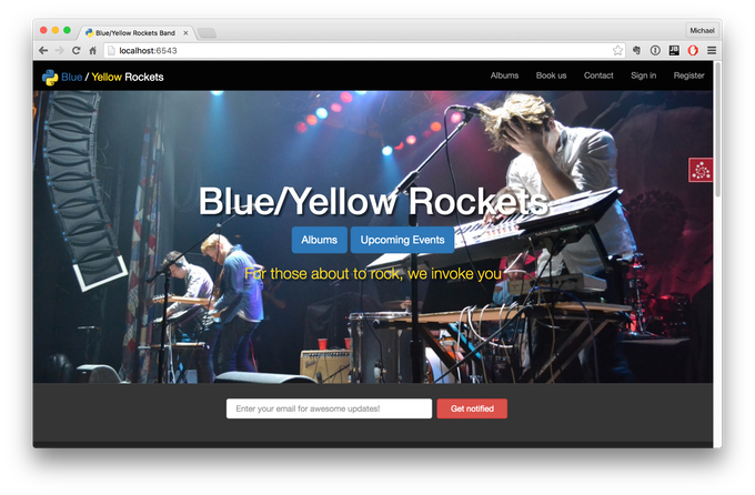 What we will build: Blue Yellow Rockets webapp